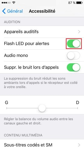 Trucs et astuces iPhone 6 6S plus SE-led-alerte-active