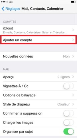 mail iPhone 6 ajout compte