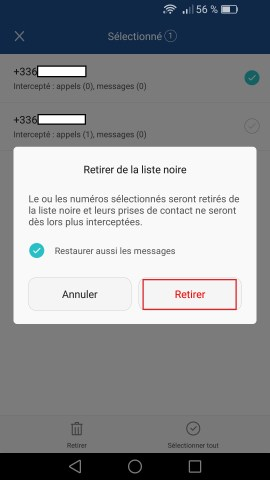 SMS Huawei android 6 . 0 anti spam retirer 2