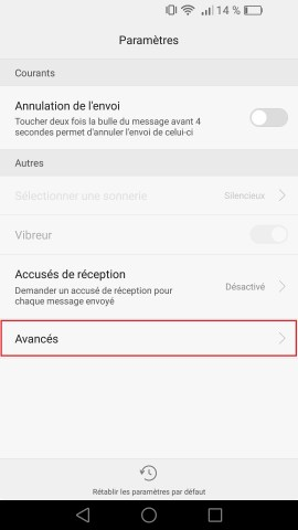 SMS Huawei android 6 . 0 message avancer