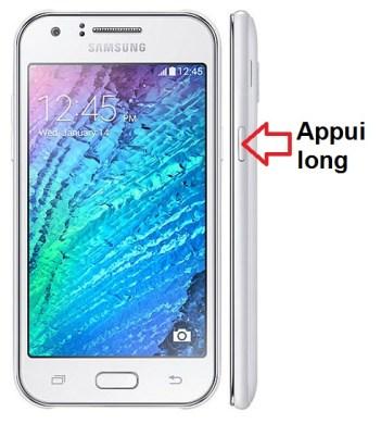 Samsung Galaxy J1 allumage