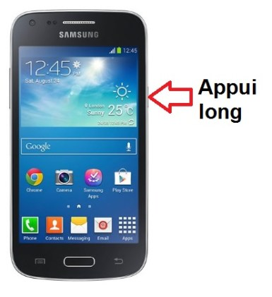 Samsung Galaxy Core Plus allumage