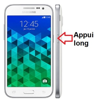 Samsung Galaxy Core prime allumage