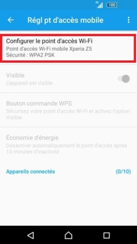 internet Sony android 6 . 0 configurer partage