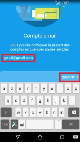mail Sony android 7.0 mail ajout