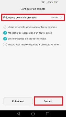 mail Huawei fréquence de synchronisation