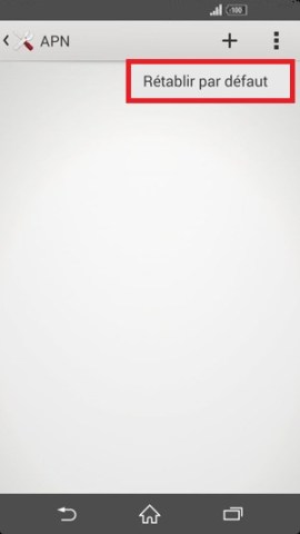 internet Sony android 4 . 4 APN retablir