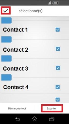 contact code pin ecran verrouillage Sony (android 4.4) contact exporter