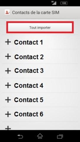 contact code pin ecran verrouillage Sony (android 4.4) contact importer SIM vers tel 3