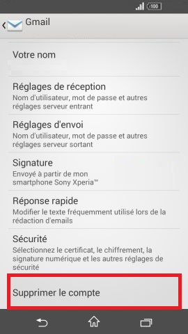 mail Sony android 4.4 mail suppression