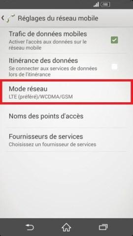 internet Sony android 4 . 4 mode réseau