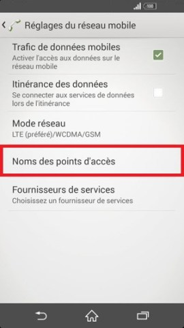 internet Sony android 4 . 4 nom des points acces