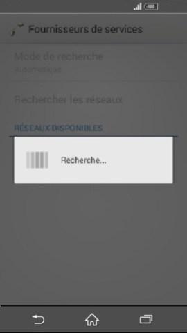 Échec réseau appel Sony android 4 . 4 recherche operateur