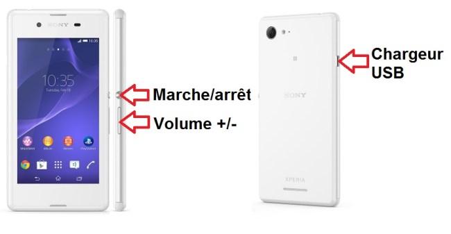 Sony Xperia E3 bouton
