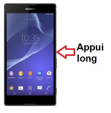 Sony Xperia T2 allumage