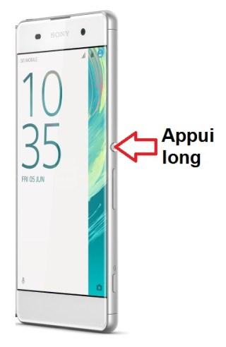Sony Xperia XA allumage