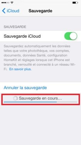 iphone 6 sauvegarde icloud en cours