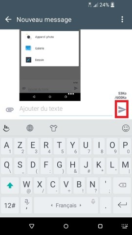MMS HTC android 6 envoyer