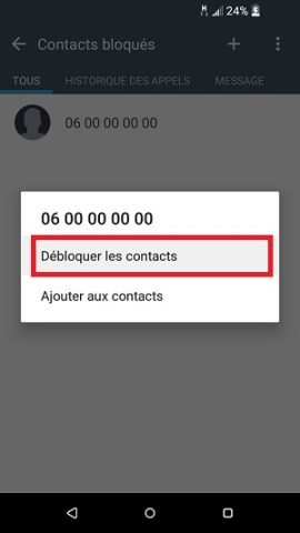 SMS HTC android 6 débloquer contact