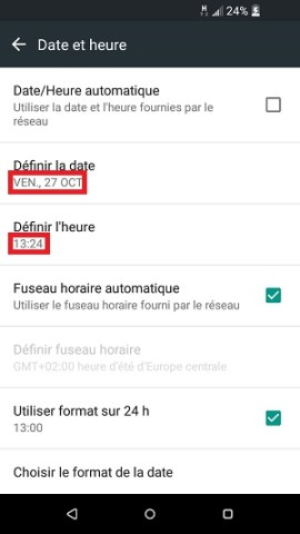 SMS HTC android 6 date et heure