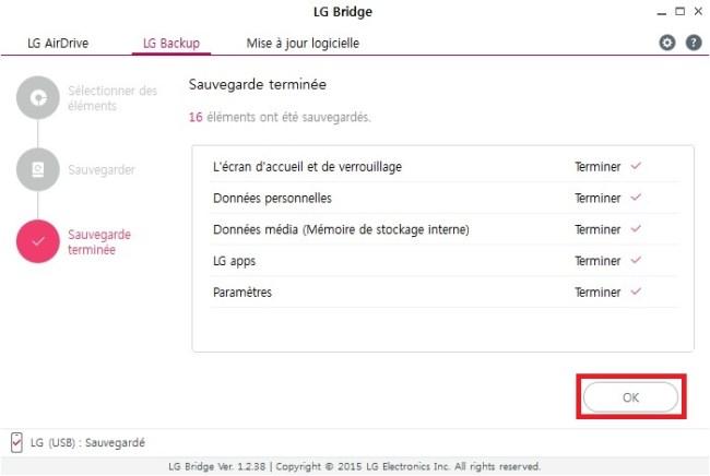 LG bridge sauvegarder
