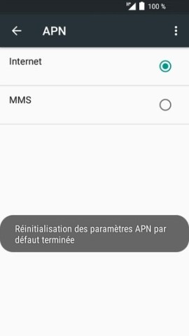 internet Alcatel android 6.0 réinitialisation APN