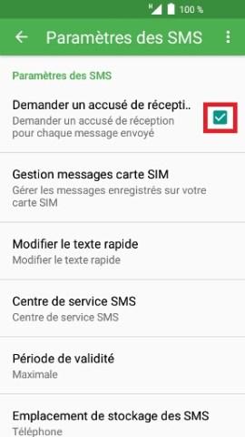 SMS Alcatel android 6.0 accusé de réception activé