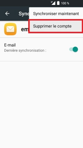 mail Alcatel android 6.0 supprimer le compte