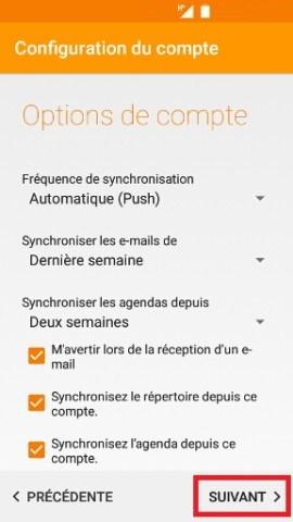 mail Alcatel android 6.0 option du compte