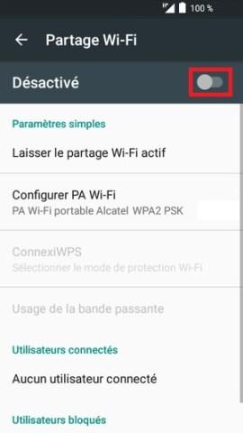 internet Alcatel android 6.0 partage desactivé