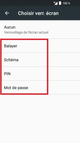 contact code pin ecran verrouillage Alcatel android 6.0 verrouillage ecran