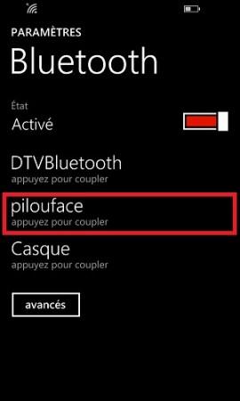 Transférer ses données Lumia bluetooth