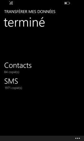 Transférer ses données Lumia terminé