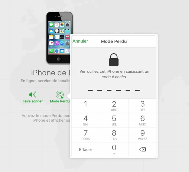 iPhone perdu ou volé code verouillage