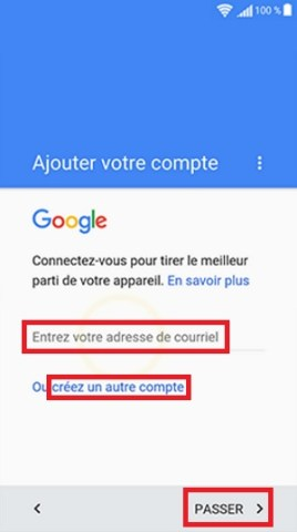 Activation Sony compte google gmail