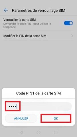 contact code pin ecran verrouillage Huawei (android 7.0) code pin