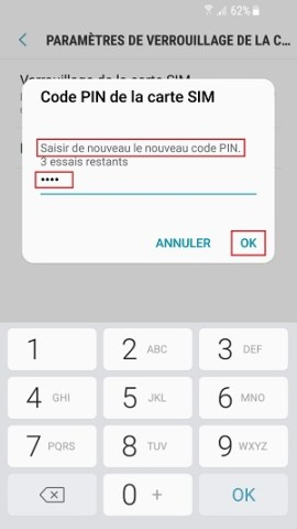 contact code pin ecran verrouillage Samsung (android 7.0) nouveau code pin