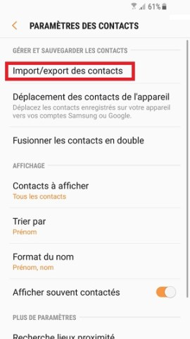 contact code pin ecran verrouillage Samsung (android 7.0) import/export contacts