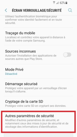 contact code pin ecran verrouillage Samsung (android 7.0) parametres