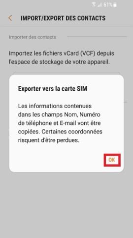 contact code pin ecran verrouillage Samsung (android 7.0) exporter vers la carte SIM