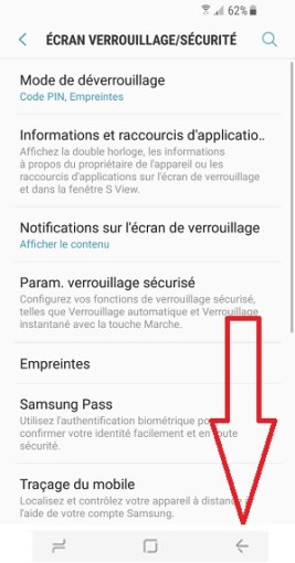 contact code pin ecran verrouillage Samsung S8