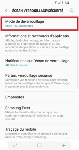 contact code pin ecran verrouillage Samsung S8 mode de deverrouillage