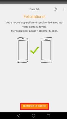 Xperia Transfer Mobile terminer