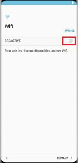 Activation Samsung Galaxy S8 désactivé