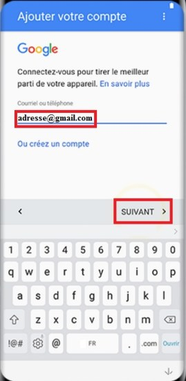 Activation Samsung Galaxy S8 email Gmail