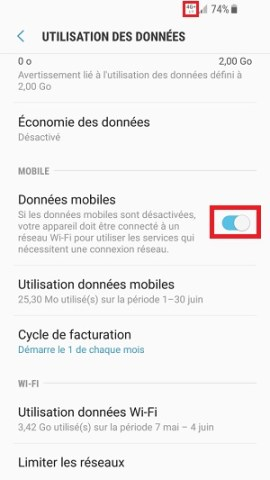 internet Samsung android 7 données mobiles