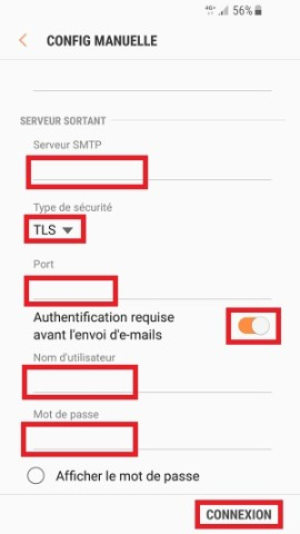 mail Samsung android 7 nougat connexion