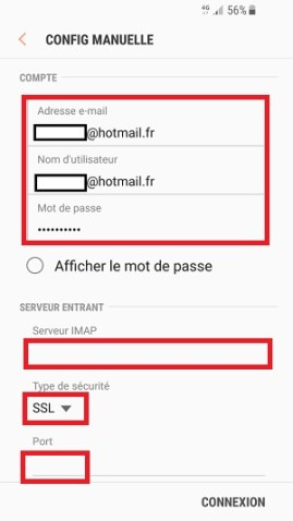mail Samsung android 7 nougat boite reception IMAP