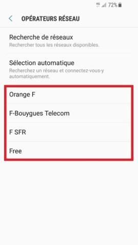 Échec réseau appel Samsung android 7