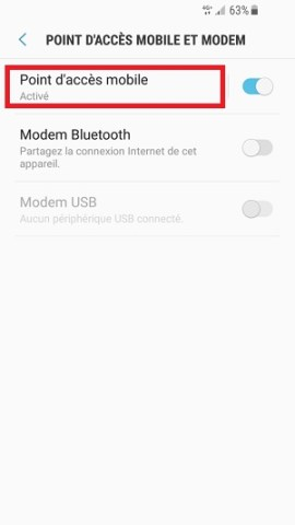internet Samsung android 7 nougat config point accès mobile